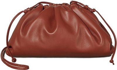 Rust & Gold Mini Leather Clutch Crossbody Bag-Bottega Veneta