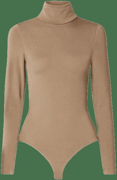 Sand Colorado Stretch-Jersey Turtleneck Bodysuit-Wolford