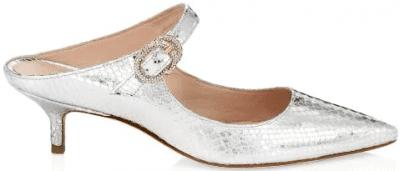 Silver Elisabetta Metallic Snakeskin-Embossed Leather Mules-Stuart Weitzman