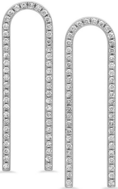 Silver Extended Horseshoe Earrings With Diamonds-Established Jewelry