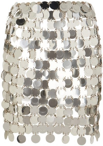 Silver Paillette Chainmail Mini Skirt-Paco Rabanne