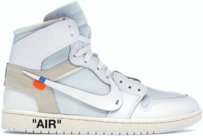 White Air Jordan 1 Retro High Sneakers-Off-White