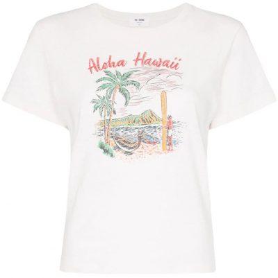 White Aloha Hawaii Printed T-Shirt-Redone