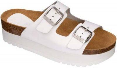 White Altea Platform Sandals-Scholl Shoes