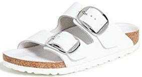 White Arizona Big Buckle Sandals-Birkenstock