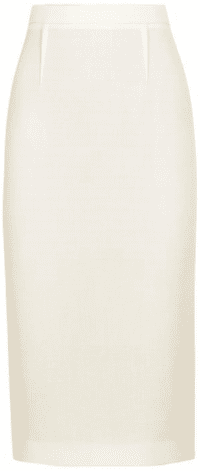 White Arreton Ivory Wool Pencil Skirt-Roland Mouret