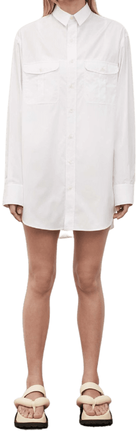 White Beach Mini Shirt Dress-Wardrobe NYC
