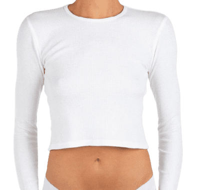 White Cropped Long Sleeve Thermal Top