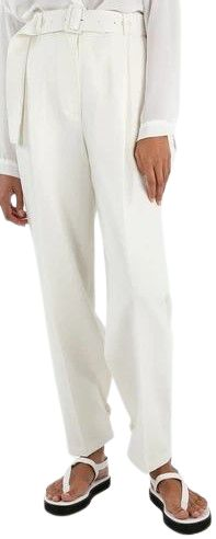 White Elvira Belted Suit Pants-The Frankie Shop