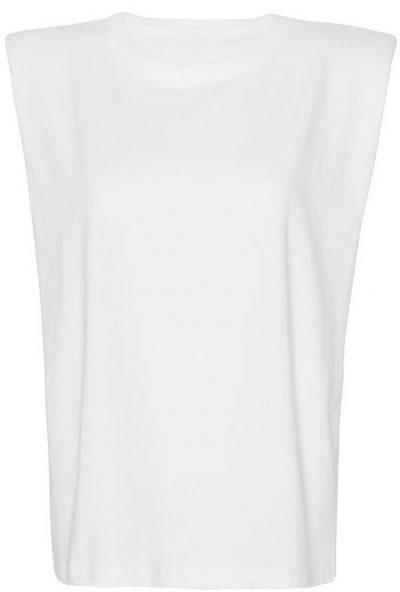White Eva Padded Shoulder Muscle T-Shirt
