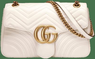 White GG Marmont Medium Matelassé Shoulder Bag-Gucci