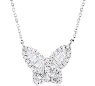 White Gold Diamond Butterfly Pendant