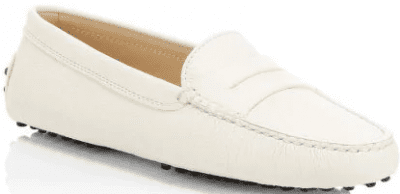 White Gommino Leather Driving Loafers-Tod's
