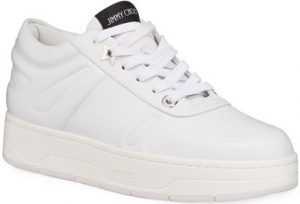 White Hawaii Leather Flatform Sneakers-Jimmy Choo