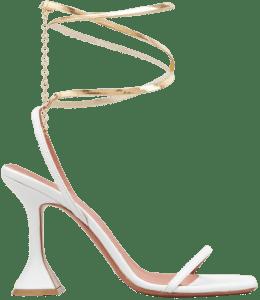 White Henson Ankle-Wrap Pedestal Sandals-Amina Muaddi