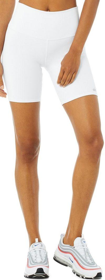 White High-Waist Biker Short-Alo Yoga