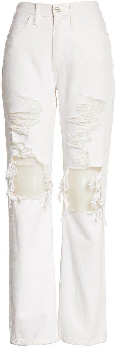 White Le Hollywood High Waist Straight Leg Jeans-Frame
