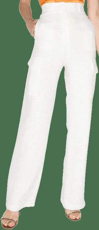 White Linen Straight-Leg Trousers-Materiel