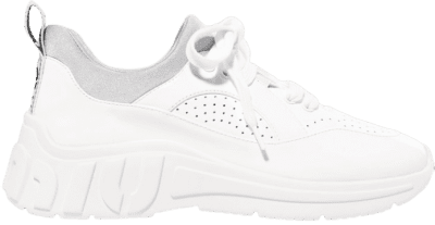 White Neoprene-Trimmed Patent Leather Sneakers