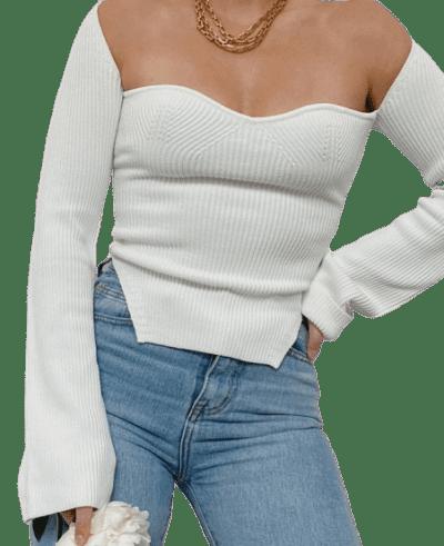 White Oana Knit Top