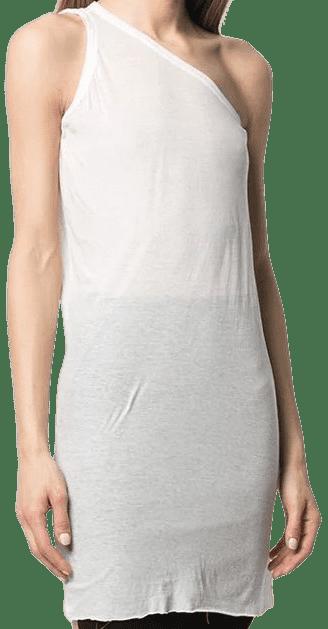White One-Shoulder Long-Length Vest-Rick Owens