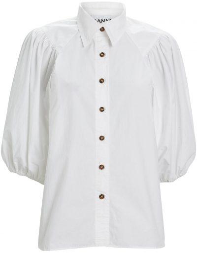 White Puff Sleeve Poplin Button Down Blouse-Ganni