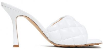 White Quilted-Leather Mules