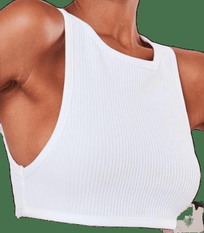 White Rib Bandage Crop Top-Missguided