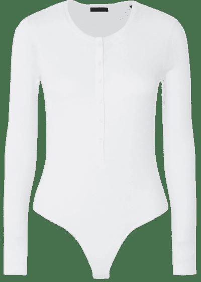 White Ribbed Stretch-Micro Modal Bodysuit-ATM Anthony Thomas Melillo