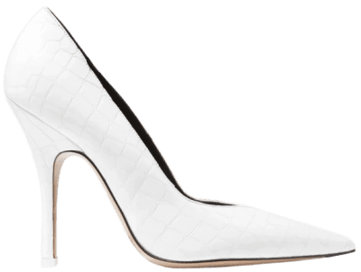 White Sophie Glossed Croc-Effect Leather Pumps-The Attico