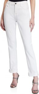 White Straight Crop Rolled Jeans-Jen7