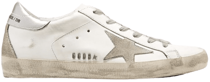 White Superstar Distressed Metallic Leather Sneakers-Golden Goose