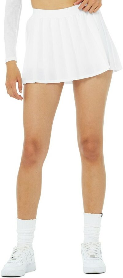 White Varsity Tennis Skirt-Alo Yoga