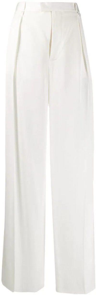 White Wide-Leg Silk Trousers-Bottega Veneta