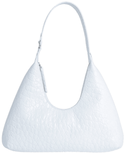 Amber Optic White Circular Croco Embossed Leather Handbag-By Far