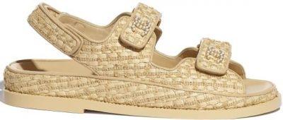 Beige Braided Fabric Sandals-Chanel