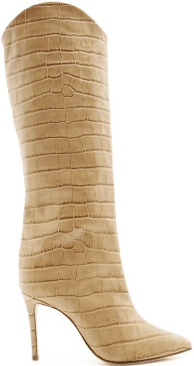 Beige Maryana Boot Croc Effect Knee High Boot-Schutz