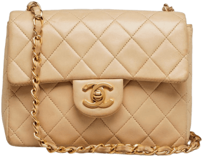 Beige Quilted Lambskin Mini Flap Bag-Chanel