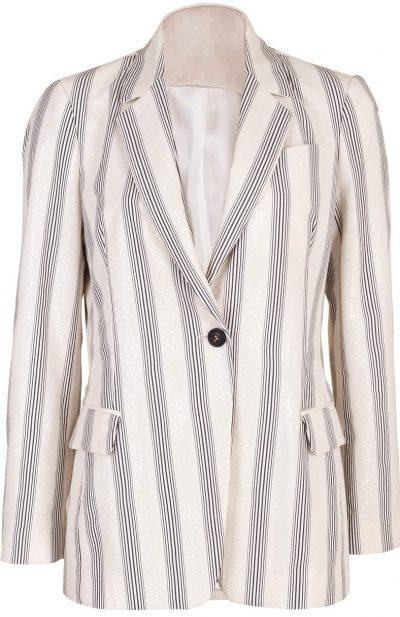 Beige Striped Cotton Paillette Embroidered Blazer