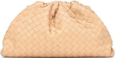 Beige The Pouch Intrecciato Leather Clutch-Bottega Veneta