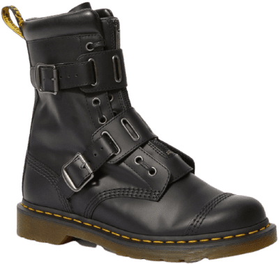 Black 1490 Quynn Buckle Lace Up Boots-Dr. Martens