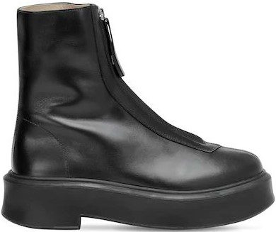 Black 40mm Leather Ankle Boots-The Row