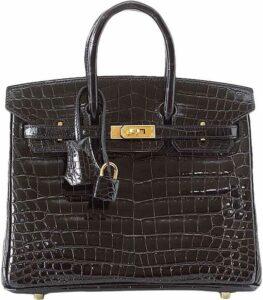Black Birkin 25 Crocodile Bag-Hermès