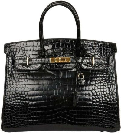 Black Birkin 35 Crocodile Bag-Hermes