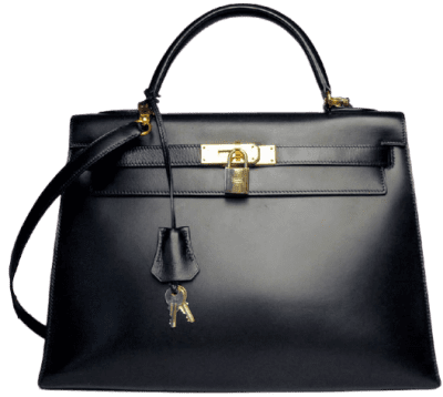 Black Calf Leather Kelly Bag