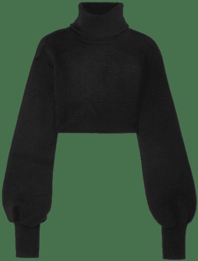Black Cropped Ribbed Turtleneck Sweater