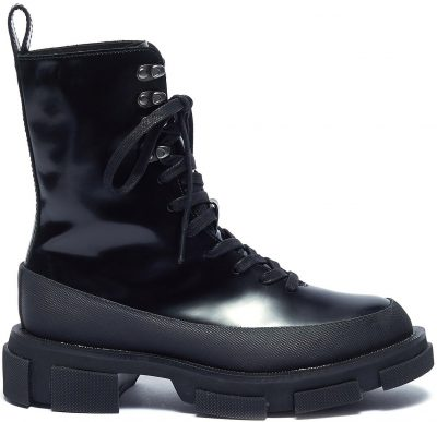 Black Gao Leather Combat Boots-Both