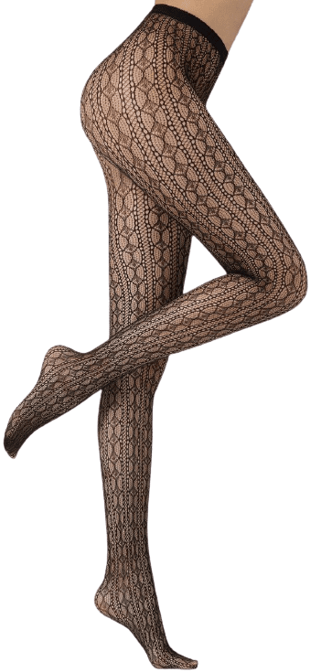 Black Geometric Pattern Fishnet Tights-Calzedonia