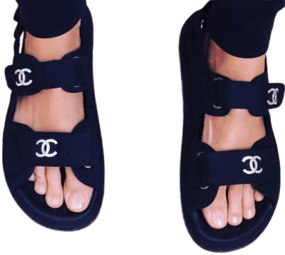 Black Grandad Sandals-Chanel