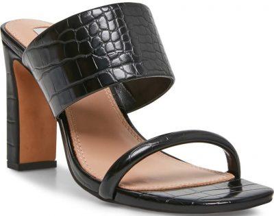 Black Jive Croc Embossed Slip On Sandal-Steven New York